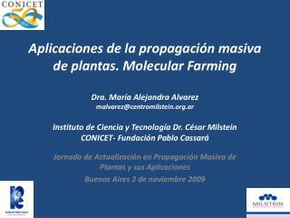 Aplicaciones de la propagaci n masiva de plantas. Molecular Farming  Dra. Mar a Alejandra Alvarez malvarezcentromilstein