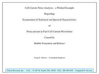 Cell Current Noise Analysis   a Worked Example  Regarding  Examination of Statistical and Spectral Characteristics  of