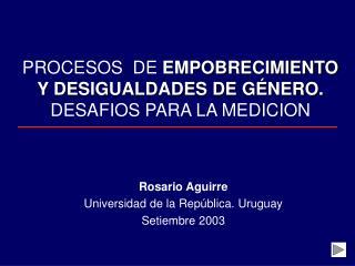 PROCESOS  DE EMPOBRECIMIENTO Y DESIGUALDADES DE G NERO. DESAFIOS PARA LA MEDICION