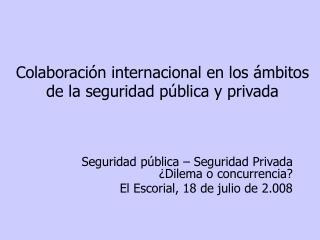 Colaboraci n internacional en los  mbitos de la seguridad p blica y privada