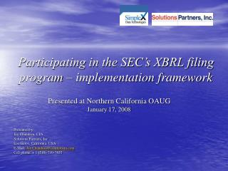 Participating in the SEC s XBRL filing program   implementation framework