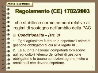 Regolamento CE 1782