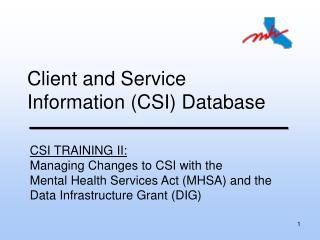 Client and Service Information CSI Database