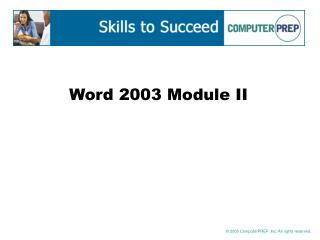 Word 2003 Module II