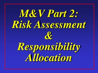MV Part 2: Risk Assessment  Responsibility Allocation