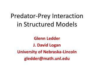 Predator-Prey Interaction in Structured Models