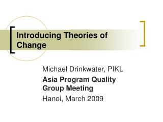 Introducing Theories of Change