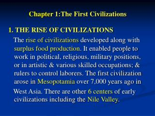 Chapter 1:The First Civilizations