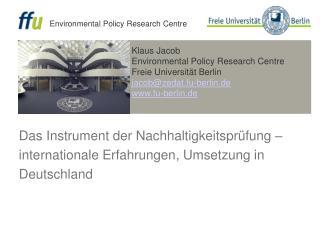 Das Instrument der Nachhaltigkeitspr fung   internationale Erfahrungen, Umsetzung in Deutschland