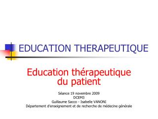 EDUCATION THERAPEUTIQUE