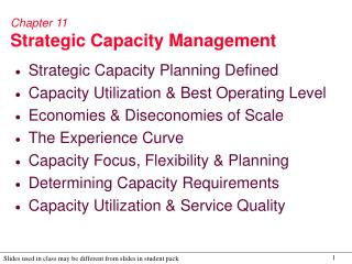 Chapter 11 Strategic Capacity Management