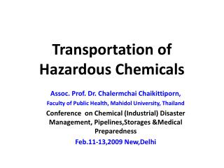 Transportation of Hazardous Chemicals