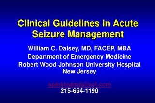 Clinical Guidelines in Acute Seizure Management