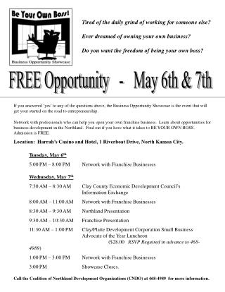 FREE Opportunity   -   May 6th  7th