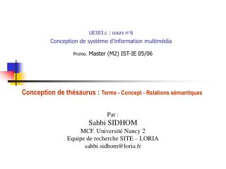 UE303.c : cours n 6 Conception de syst me d information multim dia