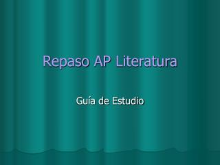 Repaso AP Literatura