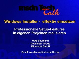 Windows Installer -  effektiv einsetzen