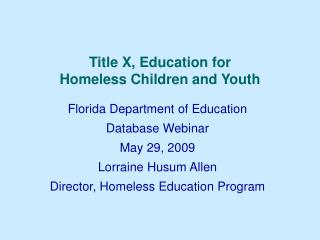 Title X, Education for  Homeless Children and Youth