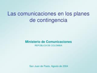 Las comunicaciones en los planes de contingencia