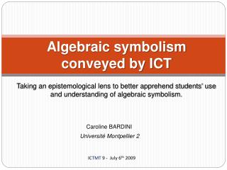 Algebraic symbolism conveyed by ICT