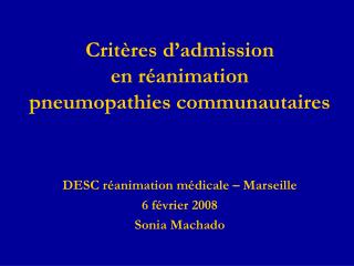 Crit res d admission  en r animation   pneumopathies communautaires