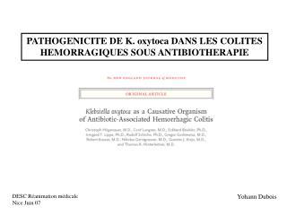 PATHOGENICITE DE K. oxytoca DANS LES COLITES HEMORRAGIQUES SOUS ANTIBIOTHERAPIE