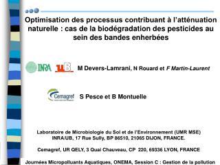 Optimisation des processus contribuant   l att nuation naturelle : cas de la biod gradation des pesticides au sein des b