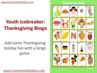 Youth Icebreaker: Thanksgiving Bingo