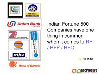 Indian Fortune 500 Companies have one thing in common when it comes to RFI