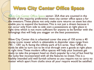 wave city center office space