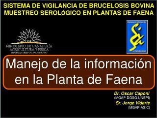SISTEMA DE VIGILANCIA DE BRUCELOSIS BOVINA MUESTREO SEROL GICO EN PLANTAS DE FAENA