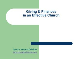 Giving  Finances  in an Effective Church