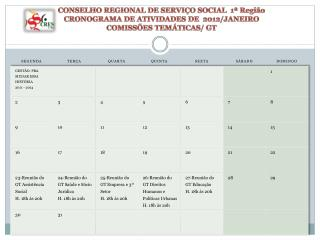 CONSELHO REGIONAL DE SERVI O SOCIAL  1  Regi o  CRONOGRAMA DE ATIVIDADES DE  2012