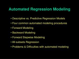 Automated Regression Modeling