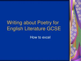 Writing about Poetry for English Literature GCSE