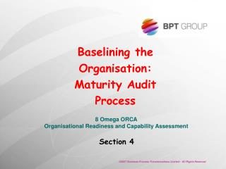Baselining the Organisation:  Maturity Audit Process