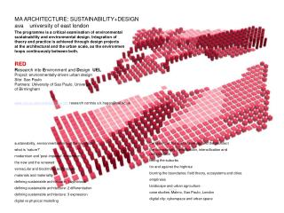 RED Research into Environment and Design UEL Project ...
