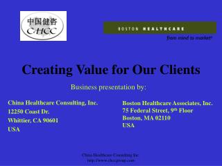 Creating Value for Our Clients