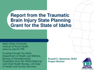 Report from the Traumatic Brain Injury State Planning Grant for the State of Idaho