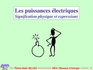 Les puissances  lectriques Signification physique et expressions