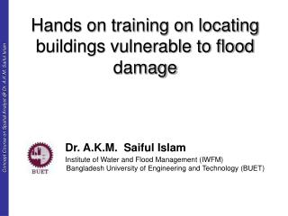 Hands on training on locating buildings vulnerable to flood damage