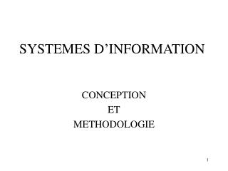 SYSTEMES D INFORMATION