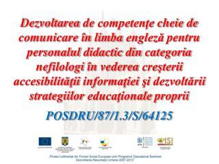 Dezvoltarea de competente cheie de comunicare  n limba engleza pentru personalul didactic din categoria nefilologi  n ve