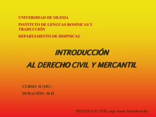 UNIVERSIDAD DE SILESIA INSTITUTO DE LENGUAS ROMNICAS Y TRADUCCI N DEPARTAMENTO DE HISPNICAS