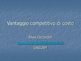 Vantaggio competitivo di costo