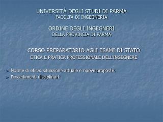 UNIVERSIT  DEGLI STUDI DI PARMA FACOLT  DI INGEGNERIA  ORDINE DEGLI INGEGNERI DELLA PROVINCIA DI PARMA