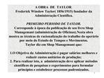 A OBRA  DE  TAYLOR. Frederick Winslow Taylor 1856