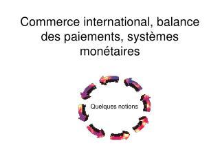 Commerce international, balance des paiements, syst mes mon taires