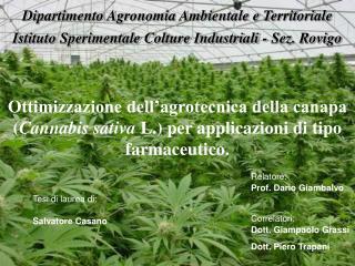 Ottimizzazione dell agrotecnica della canapa Cannabis sativa L. per applicazioni di tipo farmaceutico.