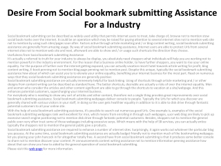 Desire From Social bookmark submitting Assistance